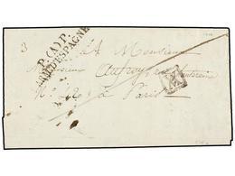 50 ESPAÑA: PREFILATELIA. 1826 (25-I). <B>EJÉRCITOS FRANCESES.</B> BARCELONA A FRANCIA. Marca <B>P. (A) P./ARM. D'ESPAGNE - Stamps