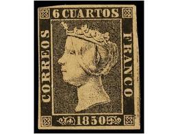 53 (*) ESPAÑA. Ed.1. <B>6 Cuartos</B> Negro, Pl. I. Muy Bonito Ejemplar, Márgenes Completos. Cat. 660€. - Stamps