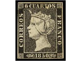 54 * ESPAÑA. Ed.1. <B>6 Cuartos</B> Negro, Pl. I Tipo 22. Variedad <B>'punto Blanco'</B> Entre Las Letras 'TO' De Cuarto - Stamps