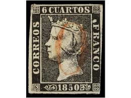 55 ° ESPAÑA. Ed.1. <B>6 Cuartos </B>negro, Pl. I Mat. <B>O</B> De ARÉVALO En Rojo. RARO. - Stamps