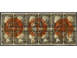 59 ° ESPAÑA. Ed.1 (12). <B>6 Cuartos </B> Negro, Pl. I. Tres Bloques De Cuatro Reconstruyendo Un Bloque De Doce Sellos S - Stamps