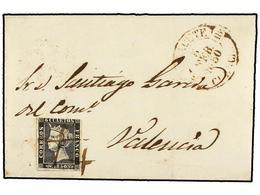 60 ESPAÑA. Ed.1. 1850. ALBACETE A VALENCIA. <B>6 Cuartos</B> Negro, Mat. <B>DOBLE CRUZ</B> En Tinta De Escribir, Al Lado - Unclassified