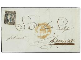 61 ESPAÑA. Ed.1. 1850. ZARAGOZA A MANRESA. <B>6 Cuartos</B> Negro. Mat. <B>11</B> De <B>ZARAGOZA</B> En Azul. MAGNÍFICA. - Stamps