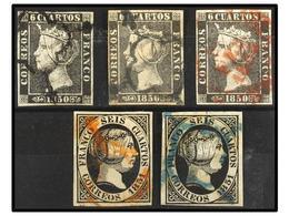 62 ° ESPAÑA. Ed.1, 1A, 6 (2). <B>6 Cuartos</B> Negro 1850 Sellos Pl. I Y Pl. II Más Pl. I, Mat. <B>FECHADOR</B>. <B>6 Cu - Stamps