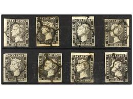 63 ° ESPAÑA. Ed.1 Y 1A. <B>6 Cuartos</B> Negro. Ocho Sellos, Todos Con <B>BORDE DE HOJA.</B> - Stamps