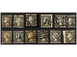 64 ° ESPAÑA. Ed.1 Y 1A. <B>6 Cuartos</B>, Pl. I Y II. Conjunto De 12 Sellos Y Una Pareja. Diversos Matasellos. - Stamps