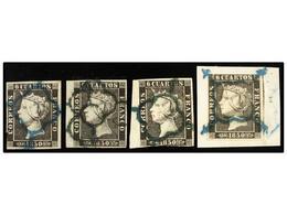 66 ° ESPAÑA. Ed.1 Y 1A. <B>6 Cuartos</B> Negro, 4 Sellos Con Mat.<B> ARAÑA AZUL.</B> Interesante, Dos Sellos <B>BORDES D - Stamps