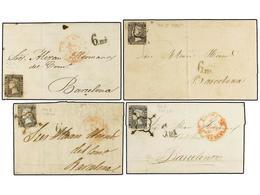 68 ESPAÑA. Ed.1 (4). 1850. <B>6 Cuartos</B>. 4 Cartas Con Marca <B>6ms.</B> De Barcelona En Negro. - Unclassified