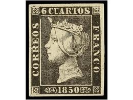 69 * ESPAÑA. Ed.1A. <B>6 Cuartos</B> Negro, Pl. II. Márgenes Enormes. PIEZA DE LUJO. Cert. CEM. Cat. 610€. - Stamps