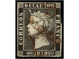 70 ° ESPAÑA. Ed.1A. <B>6 Cuartos</B> Negro, Pl. II Mat. <B>AS</B> De<B> </B>BARCELONA En Rojo. Rarísimo En Este Color. C - Stamps