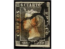 71 ° ESPAÑA. Ed.1A. <B>6 Cuartos </B>negro, Pl. II Mat. <B>ARAÑA </B>y <B>LINEAL </B>NAVARRA En Rojo De BETELU. RARÍSIMO - Stamps