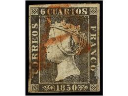 72 ° ESPAÑA. Ed.1A. <B>6 Cuartos </B>negro, Pl. II. Mat. <B>A </B>de<B> </B>SANTIAGO En Rojo Sello Con Algún Defecto, Pe - Stamps