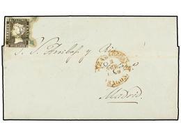 73 ESPAÑA. Ed.1A. 1850. ZARAGOZA A MADRID. <B>6 Cuartos</B> Negro, Pl. II, Mat.<B> ARAÑA AZUL.</B> - Stamps