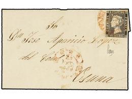 74 ESPAÑA. Ed.1A. 1850. VALENCIA A OSUNA. <B>6 Cuartos</B> Negro, Mat. Fechador <B>***/VALENCIA. </B> - Stamps