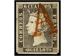 75 ESPAÑA. Ed.1. <B>6 Cuartos</B> Negro, Pl. I, Tipo 23, Mat.<B> A</B> En Rojo De Origen Desconocido. MAGNÍFICO Y MUY RA - Unclassified