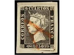76 ESPAÑA. Ed.1. <B>6 Cuartos</B> Negro, Pl. I, Tipo 23 Sobre Pequeño Fragmento, Mat.<B> A </B>en Rojo De Origen Descono - Stamps