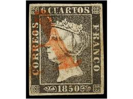77 ° ESPAÑA. Ed.1. <B>6 Cuartos</B> Negro, Pl. I, Tipo 16, Mat.<B> A</B> En Rojo De Origen Desconocido. MAGNÍFICO Y MUY  - Stamps