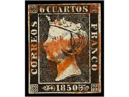 81 ° ESPAÑA. Ed.1. <B>6 Cuartos</B> Negro, Pl. I, Tipo 7, Mat.<B> A</B> En Rojo De Origen Desconocido. MUY RARO. - Stamps