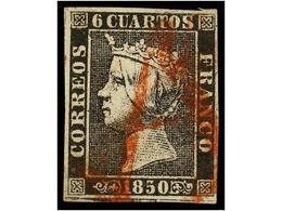 82 ° ESPAÑA. Ed.1. <B>6 Cuartos</B> Negro, Pl. I, Tipo 19. Mat. <B>A </B>en Rojo Posiblemente De ZARAGOZA. RARÍSIMO. Cer - Stamps