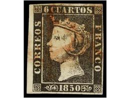 83 ° ESPAÑA. Ed.1. <B>6 Cuartos</B> Negro, Pl. I, Tipo 13, Mat. <B>A</B> En Rojo De Origen Desconocido. MUY RARO. - Stamps