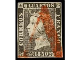 84 ° ESPAÑA. Ed.1. <B>6 Cuartos</B> Negro, Pl. I, Tipo 5, Mat.<B> A</B> En Rojo De Origen Desconocido. MAGNÍFICO Y MUY R - Stamps