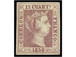 85 (*) ESPAÑA. Ed.2. <B>12 Cuartos</B> Lila. Color Excepcional. PIEZA DE LUJO. Cert. GRAUS. Cat. 3.375€. - Stamps