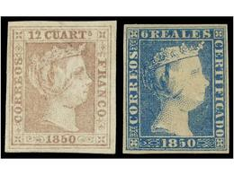 87 (*) ESPAÑA. Ed.2 Y 4. <B>12 Cuartos</B> Lila Gris Y <B>6 Reales</B> Azul. Bonitos Ejemplares Aparentemente Nuevos Con - Stamps