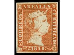 89 * ESPAÑA. Ed.3. <B>5 Reales</B> Rojo. Color Muy Fresco Conservando Toda Su Goma Original, Margen Derecho Ajustado Per - Unclassified