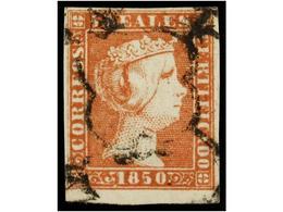 90 ° ESPAÑA. Ed.3. <B>5 Reales </B>rojo. MAGNÍFICO EJEMPLAR, Borde Inferior De Hoja. Cat. 405€. - Stamps