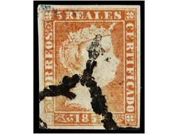 91 ° ESPAÑA. Ed.3. <B>5 Reales</B> Rojo. Muy Bonito Ejemplar. Cert. GRAUS. Cat. 405€. - Stamps