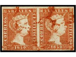 92 ° ESPAÑA. Ed.3 (2). <B>5 Reales </B>rojo. Pareja Horizontal. Mat. <B>ARAÑA ROJA. </B>MAGNÍFICA Y MUY RARA. Cert. COME - Stamps