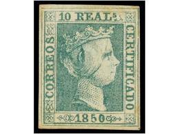 94 * ESPAÑA. Ed.5. <B>10 Reales</B> Verde. Ejemplar Con Goma Original Tonalizada. Color Fresco Y Buen Aspecto. Cert. COM - Unclassified