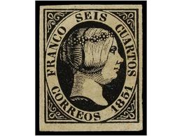 96 * ESPAÑA. Ed.6. <B>6 Cuartos</B> Negro. PIEZA DE LUJO. Cert. CEM. Cat. 375€. - Stamps