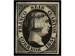97 (*) ESPAÑA. Ed.6. <B>6 Cuartos</B> Negro. Muy Bonito Ejemplar. Cert. CEM. Cat. 375€. - Stamps