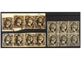 98 °/ ESPAÑA. Ed.6. <B>6 Cuartos </B>negro. 2 Fragmentos Con Cuatro Sellos Cada Uno Y Un Bloque De Seis. - Stamps