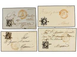 99 ESPAÑA. Ed.6. 1851. <B>6 Cuartos</B> Negro. Conjunto De 77 Cartas (algún Frontal) Con Mat. <B>ARAÑA</B> Y Fechadores  - Stamps