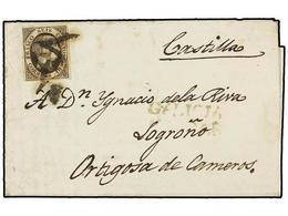 100 ESPAÑA. Ed.6. 1851. CALDAS A LOGROÑO. <B>6 Cuartos</B> Negro, Mat.<B> 'O'</B> Y<B> '1'</B> De CALDAS DE REIS Y Marca - Stamps