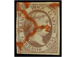 102 ° ESPAÑA. Ed.7. <B>12 Cuartos</B> Lila, Mat. <B>ARAÑA ROJA,</B> Márgenes Enormes. MAGNÍFICO EJEMPLAR. Cat. 490€. - Stamps