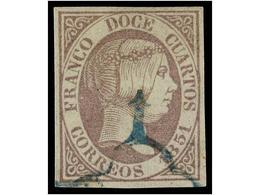 103 ° ESPAÑA. Ed.7. <B>12 Cuartos</B> Lila, Mat. <B>ARAÑA AZUL. </B>MAGNÍFICO. Cert. CEM. Cat. 570€. - Stamps