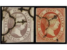 104 ° ESPAÑA. Ed.7 Y 9. <B>12 Cuartos</B> Y <B>5 Reales</B>. Bonitos Ejemplares En Usado. Cat. 640€. - Stamps