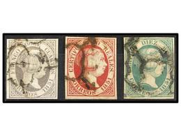 105 ° ESPAÑA. Ed.7, 9, 11. Bonitos Ejemplares, Leves Defectos. Cat. 1.360€. - Stamps