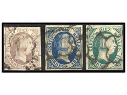 106 ° ESPAÑA. Ed.7, 10, 11. <B>12 Cuartos</B> Lila, <B>6 Reales</B> Azul (cert. COMEX) Y <B>10 Reales</B> Verde. Bonitos - Stamps