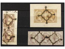 107 °/ ESPAÑA. Ed.7. <B>12 Cuartos </B>lila. Dos Parejas Sobre Fragmento Y Una Tira De Tres. Cert. COMEX. Cat. 2.430€. - Stamps