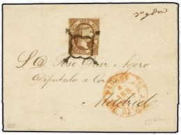 108 ESPAÑA. Ed.7. 1851. PADRÓN (Galicia) A MADRID. <B>12 Cuartos</B> Lila. MUY BONITA. Cert. COMEX. - Stamps