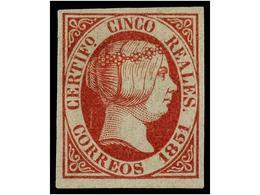 110 (*) ESPAÑA. Ed.9. <B>5 Reales</B> Rosa. Color Excepcional. ESPECTACULAR EJEMPLAR. PIEZA DE LUJO. Cert. GRAUS. Cat. 3 - Stamps