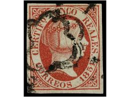 111 ° ESPAÑA. Ed.9. <B>5 Reales</B> Rosa. MUY BONITO EJEMPLAR. Cat. 375 €. - Stamps
