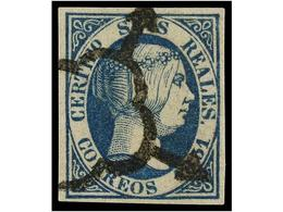 113 ° ESPAÑA. Ed.10. <B>6 Reales</B> Azul<B> FALSO SPERATI</B>, Marquilla <B>B.P.A.</B> Al Dorso. - Stamps