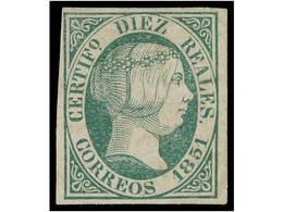 114 (*) ESPAÑA. Ed.11. <B>10 Reales</B> Verde. Ejemplar De Buena Presencia, Lavado Quimicamente. Cert. CEM. Cat. 4.025€. - Unclassified