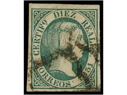 115 ° ESPAÑA. Ed.11. <B>10 Reales</B> Verde. Muy Bonito Ejemplar. Cert. GRAUS Y COMEX. Cat. 720€. - Stamps
