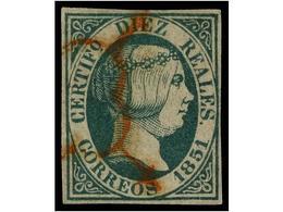 116 ° ESPAÑA. Ed.11. <B>10 Reales</B> Verde, Mat.<B> ARAÑA ROJA. </B>MAGNÍFICO EJEMPLAR. Cert. GRAUS. Cat. 1.550€. - Stamps